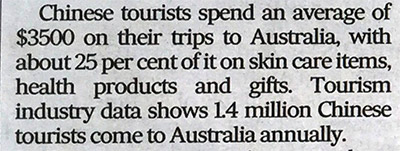 Chinese Toursits Australia Spend