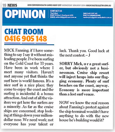 Comments about Mick Fanning